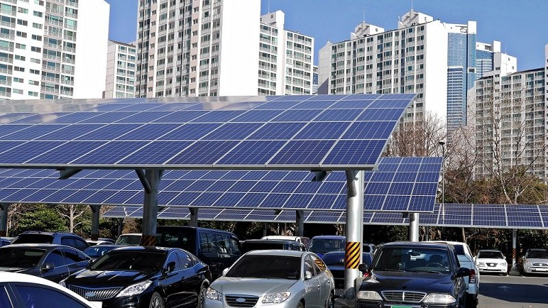 Solar panel installed in parking lot      ; Shutterstock ID 1025850622