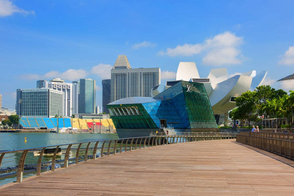 Singapore, 01/21/2018, The Waterfront Of Marina Bay. Marina Bay is a Gulf of the sea, located in southern Singapore, East of the Central district and the business part of the city.; Shutterstock ID 1030711621